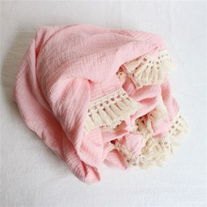Baby Solid Muslin Swadding Tassel Fringed Double Layer Bathroom Blankets Towels Toddler Swaddles Wraps Infant Muslin Blankets Robes 630 Y2