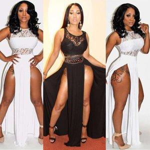 Casual DressesSummer sleeveless lace stitching stretch slim open legs sexy nightclub dress long dress