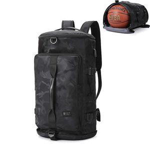 كامو جيم حقيبة الظهر للماء حقيبة كرة السلة الرجال النساء رياضة أحذية رياضية حقيبة رياضة حقيبة كتف كبيرة حقيبة مع حذاء حذاء