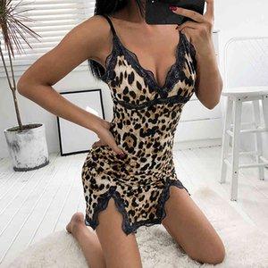 Traje de baño 2021 mujeres sexy ropa de dormir dama v-cuello leopardo vestido de noche club nocturno estilo encaje sling nightgowns lingerie pijama mujer