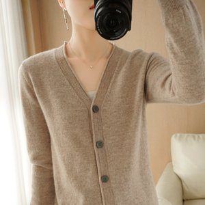 knitting cardigan solid color long sleeve V-neck with wool sweater Women's 2021 new spring coatJ7LI