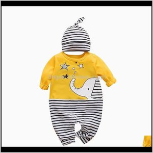 Rompers Born Kids Clothing Long Sleeve Elephant Print Striped Romper Boys Girls Clothes Jumpsuit Hat 2Pcs Baby Outfits Spring Yawew Pa8Tw