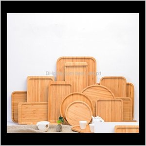 Dishes Plates Dinnerware Kitchen Dining Bar Garden Drop Delivery 2021 Multipurpose Bread Coffee Tea Fruit Plate Bamboo Serving Tray For Home