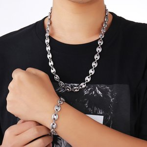 2019 NEW HIP Hop width 11MM 60CM stainless steel gold and silver coffee bean chain necklace men's jewelry 1118 Q2
