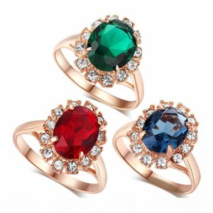 Rhinestone Ring Rose Gold Color Crystal Fashion Anniversary Jewelry For Women