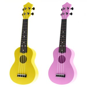 2x 21 Inch Acoustic Ukulele Uke 4 Strings Hawaii Guitar Instrument for Kids and Music Beginner Pink & Yellow
