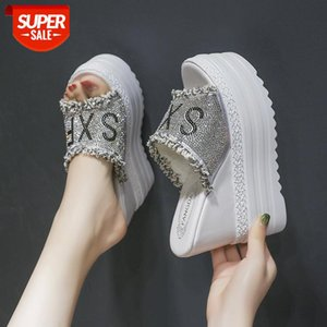 2021 Newest Fashion Crystals Wedges super High Heels Leisure Summer Sandal Woman Shoes Women Platform Fish mouth Slippers 13cm #Mw26
