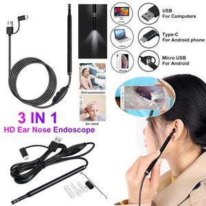 wholesale 3 in 1 Earpick Endoscope Multifunctional USB Ear Cleaning Tool HD Visual EarCare Spoon Clean2m Medical Otoscope Digital for Android Phone PC