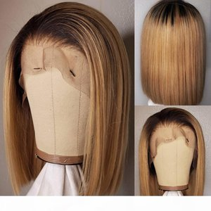 T4 27 Lace Front Human Hair Wigs Straight Brazilian Hair Ombre Honey Blonde Bob Wigs For Black Women Bleached Knots 13x4 150%