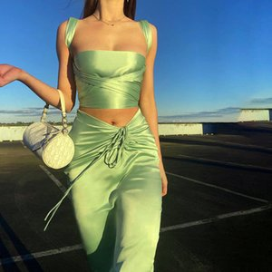 Two Piece Dress 2 Set Women Sexy Corset Top Bandage Crop Tops Sleeveless Summer Y2K Clothes Ruched Drawstring Pack Hip Skirt Outfi