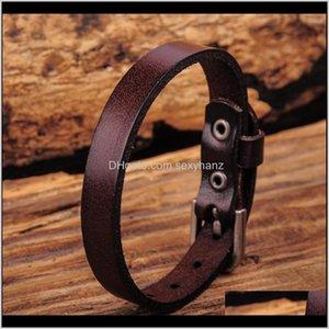 Charm Bracelets G458 Dark Brown Simply Cool Single Wrap Genuine Leather Bracelet Buckle Cuff Mens M7Xoc Vxzlt