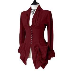 Women's Blouses & Shirts Women Long Sleeve Retro Lace Trim Button Up Vintage Irregular Tailcoat Gothic Blouse Outwear Ladies Tops Blusas Muj