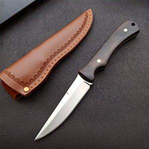 Oferta especial sobrevivência ao ar livre faca de caça reta 5cr13Mov cetim ponto de gota lâminas completa tangbano alça fixo lâmina fixa com bainha de couro
