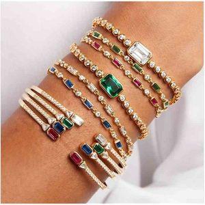 Gold filled blue green red white baguette cubic zirconia Open cuff bangle bracelet women fashion jewelry 210408