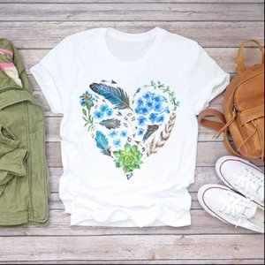 Women Feather Love Womens Tops Heart Shape Fashion Camisas Mujer Clothes Lady T shirts Top Shirt Ladies Graphic Female Tee