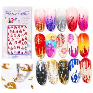 3D Nails Art Sticker Decoration Gold Silver Flame Red Decal for Nails Manicure Fire Design Sticker for Foil Back Glue Nail makeup J025 free DHL
