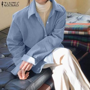 Women's Blouses & Shirts ZANZEA 2021 Elegant Women Corduroy Autumn Casual Long Sleeve Blusas Female Lapel Button Tunic Oversized Chemise
