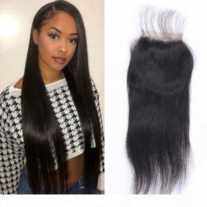 Mongolian Straight Hair Closure Human Hair 4x4 inches Middle Three Free Part Medium Brown Swiss Lace Closure