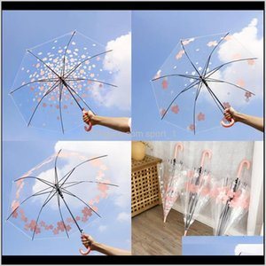 Household Sundries Home & Garden Drop Delivery 2021 Transparent Windproof Long Handle Clear Flower Letters Printed Umbrella Peo Rain Umbrella