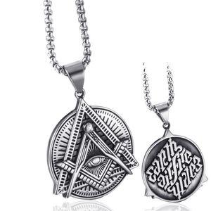 Elfasio Freemason Symbol Masonic Necklace For Men Illuminati All Seeing Eye Eye Of Gold Both Sided Stainless Steel Pendant Jewel Necklaces