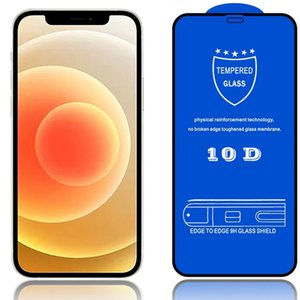10D Full Cover Tempered Glass Screen Protectors for Iphone 12 Pro Max 11 X XS XR SE 7 8 6s 6