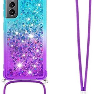 CCSmall Samsung Galaxy S21 Cute Case Strap Crossbody,Gradient Quicksand Bling Sparkle Flowing Liquid Floating with Neck Cord Lanyard