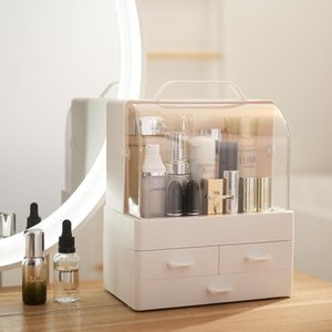 Bathroom Storage & Organization White Orange Makeup Organizer Make Up Brush Box With Drawer Cotton Swabs Stick Case