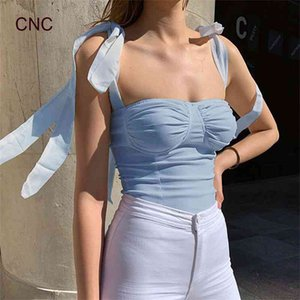 Women Tank Summer Bow Strap Vest Sexy Off Shoulder T Shirts Girls Sling Tops Fashion Ladies Tees Female Camis T-shirts 050718