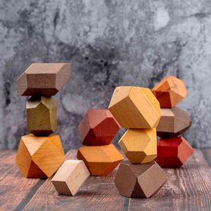 Blocks Tum Building Block Wood Balancing Stacked Stones RAINBOW set Coloured Gams Wooden Rocks Montessori educational Toy 1019