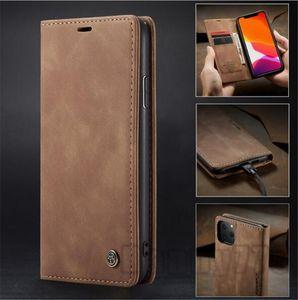 Case Cuir Case pour iPhone 11 Pro Max XR X XS MAX 8 7 6 6S Plus 5 5S SE pour Samsung Galaxy S20 S10 A90 A91 Note 10 Couverture magnétique