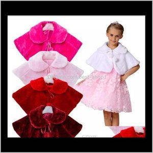 Poncho Cape Bowknot Plush Faux Fur Winter Shawl Princess Cloak Wedding Outerwear Coat Warm Girls Tippet Kids Party Jacket Qk32P 091B8