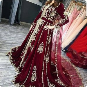 Elegant Burgundy Kaftan Arabic Formal Evening Dresses With Long Wrap Full Sleeve Appliqued Golden Lace Morocco Muslim Women Caftan Celebrity Party Prom Dress