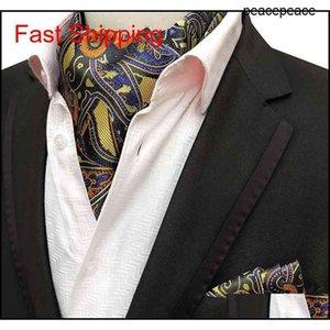 2pcs Men Jacquard Pocket Square Groom Wedding Tuxedo Cravat Ascot Scrunch Banquet Necktie Paisley Silk Neck Tie qyljBy queen66