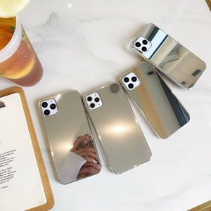 Silver-edged makeup mirror phone cases for iPhone 12 11 Pro X Xr Xs Max Mini 7 8 Plus