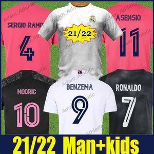 Реал Мадрид футбольные трикотажные майки 2021 2022 человек Kids Kit Hapard Modric Valverde Sergio Ramos Football Jersey Vini Jr Marcelo Kroos Benzema Asensio Camiseta de Galactico Top