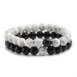 2pcs / Set Classic Natural Stone Blanc et Noir Yin Yang Brefelets Perles Couples Bracelet Distance pour hommes Femmes Meilleur ami