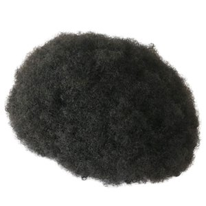 Base de peau super durable 6mm Afro Curl Curl Homme Toupée pour cheveux pour African America Black Hommes 100% Cheveux humains Toupees Indian Curly Perruques