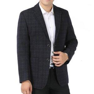 Men Elegant Blazers Wool Suit Jackets Classical Plaid Woollen Blazer Man Gray Khaki Suit Coat Male Check Pattern Blazer Hombre1