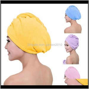 Shower Caps Accessories Home Garden Drop Delivery 2021 Girl Ladys Magic Cap Quick Dry Hair Lovely Drying Soft Head Wrap Hat Women Towels Bath