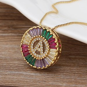 Chains Fashionable Rainbow Gold Micro Pave CZ Cubic Zirconia A-Z Initials Letter Pendant Necklaces For Women Family Jewelry Gift
