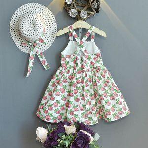 Girls Dresses Beach Baby Dress Bucket Straw Hat 2Pcs Sets Summer Cotton Flower Princess Kids Clothes Children Wear 2-6T B4596