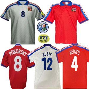 1996 يورو República التشيكية الرجعية Fútbol Jersey 96 97 Nedved Poborsky Berger خمر كلاسيكي لكرة القدم قميص