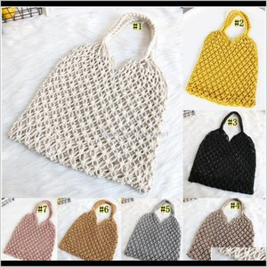 Storage Bags Beach Woven Mesh Rope Weaving Tie Buckle Reticulate Hollow St No Lined Net Shoulder Bag Owe3007 Hqwjq Jyvbh