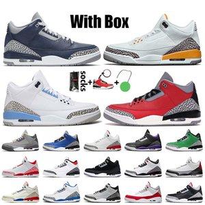 Nike Air Jordan 3 Retro 3 3s 2021 Tênis de basquete masculino com caixa Georgetown Midnight Navy UNC Laser laranja vermelho preto Cimento JTH NRG Katrina tênis tênis