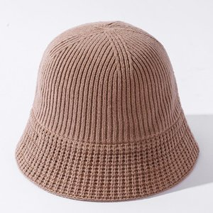 Wide Brim Hats YQYXCY Bucket Hat Women Winter Autumn Knitted Fisherman Cap Solid Color Simple Female Casual Korean Gorro