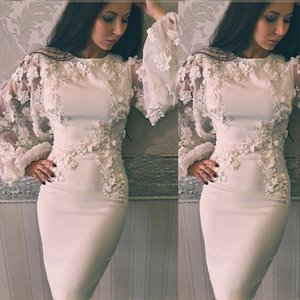 2021 Sexy Short Prom Dresses Jewel Neck Lace Appliques With Flowers Satin Knee Length Long Sleeves White Party Graduation Cocktail Homecoming Gowns