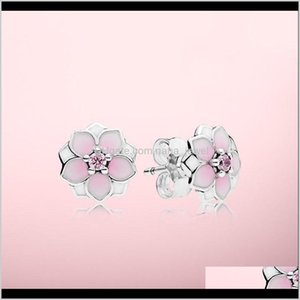 Pink Magnolia Earrings Beautiful Women Jewelry With Original Box For Pandora 925 Sterling Sier Flower Stud Earring Sets Zubf7 7Pzvw