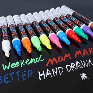 8 12 PCS Set Liquid Chalk Marker Pens Erasable Multi Colored Highlighters LED Writing Board Glass Window Art Marker Pens 210902