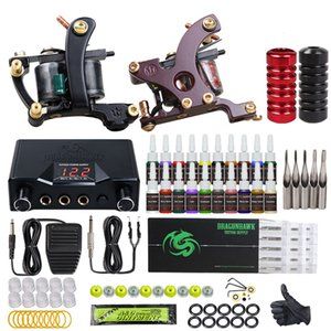 Dragonhawk Tattoo Kit 2 Machines Guns 20 Color Inks Dual Power Supply Disposable Needles Tips HW-21-1