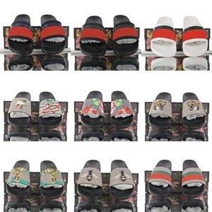 مصمم الشريحة المطاط صندل الزهور الديباج الرجال شبشب والعتاد قيعان الوجه يتخبط النساء مخطط شاطئ الأحذية السببية مع صندوق US5-11